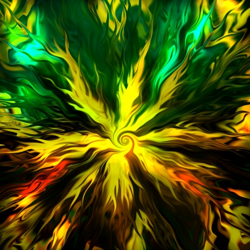 Contemplative artwork with streams of vibrant yellow and green